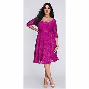 Lane Bryant Magenta Lace Dress